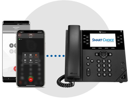 Smart UCAAS + Teams provides a four-digit dial between the Teams softphone app and a colleague's desktop phone without the need for both end users to have a Teams license